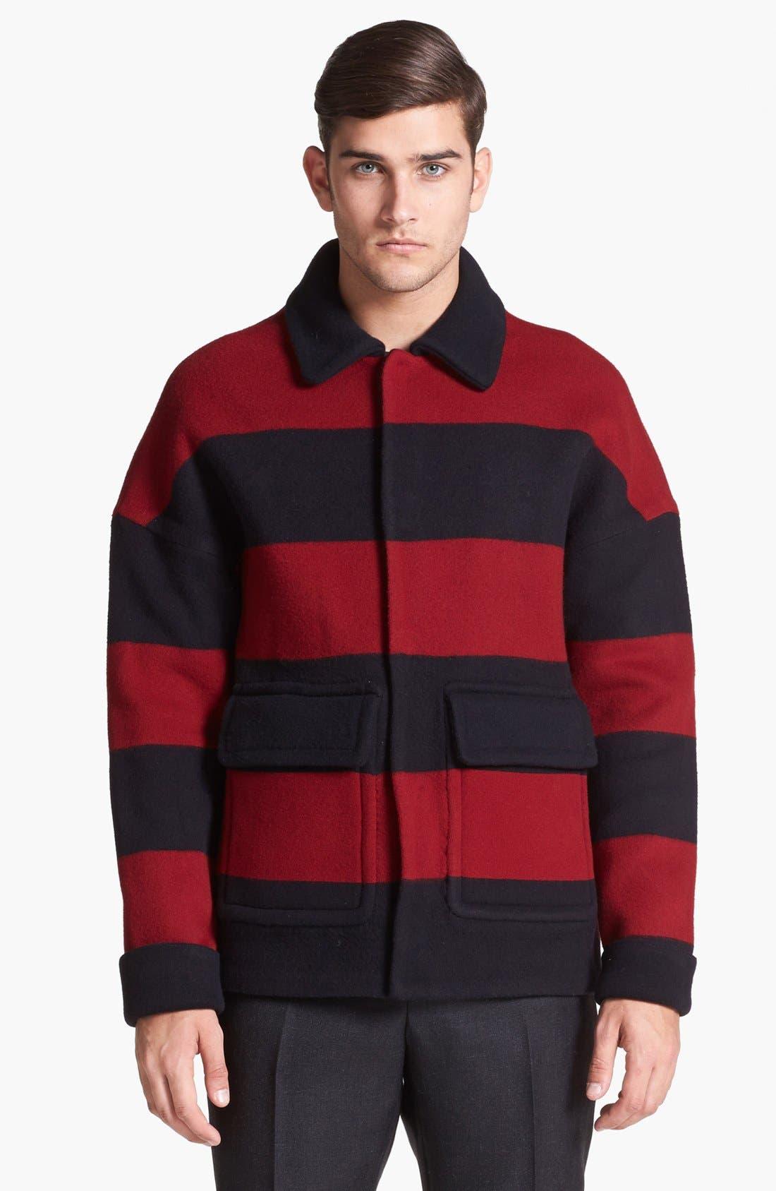 Main Image - Burberry Prorsum Stripe Wool Blend Coat
