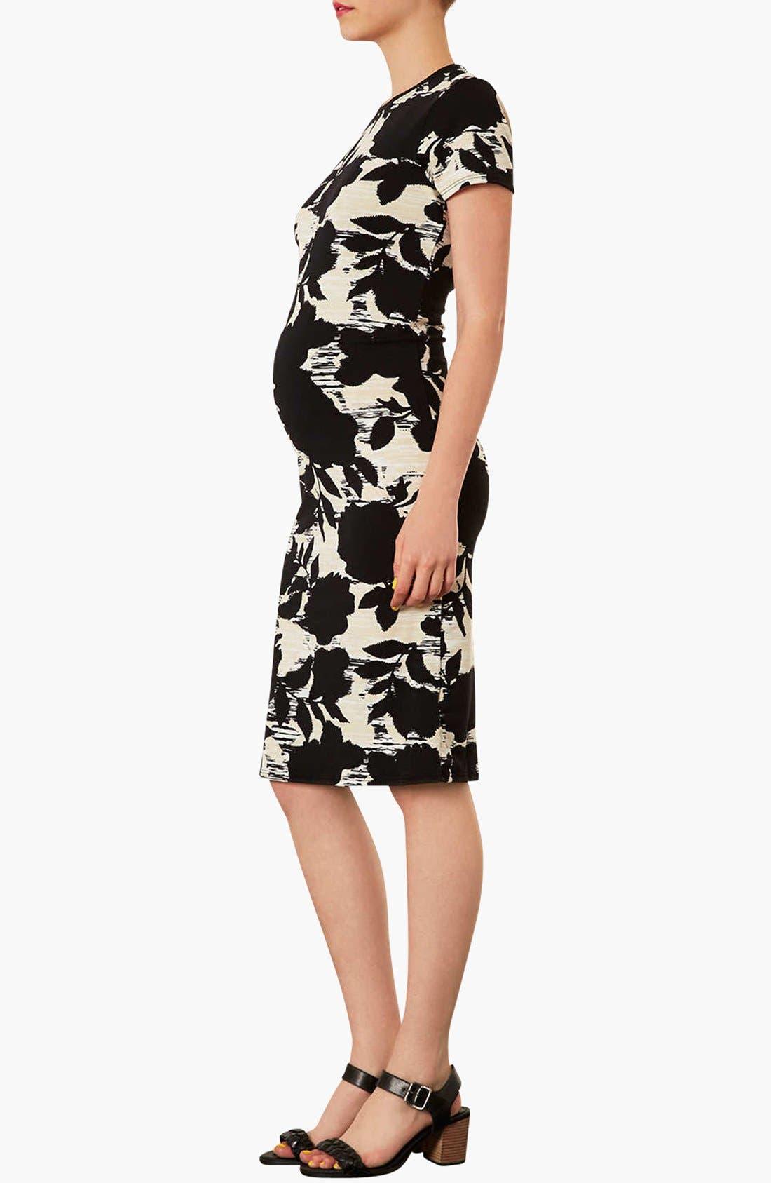Alternate Image 2  - Topshop 'Craft Dark Flower' Body-Con Maternity Dress