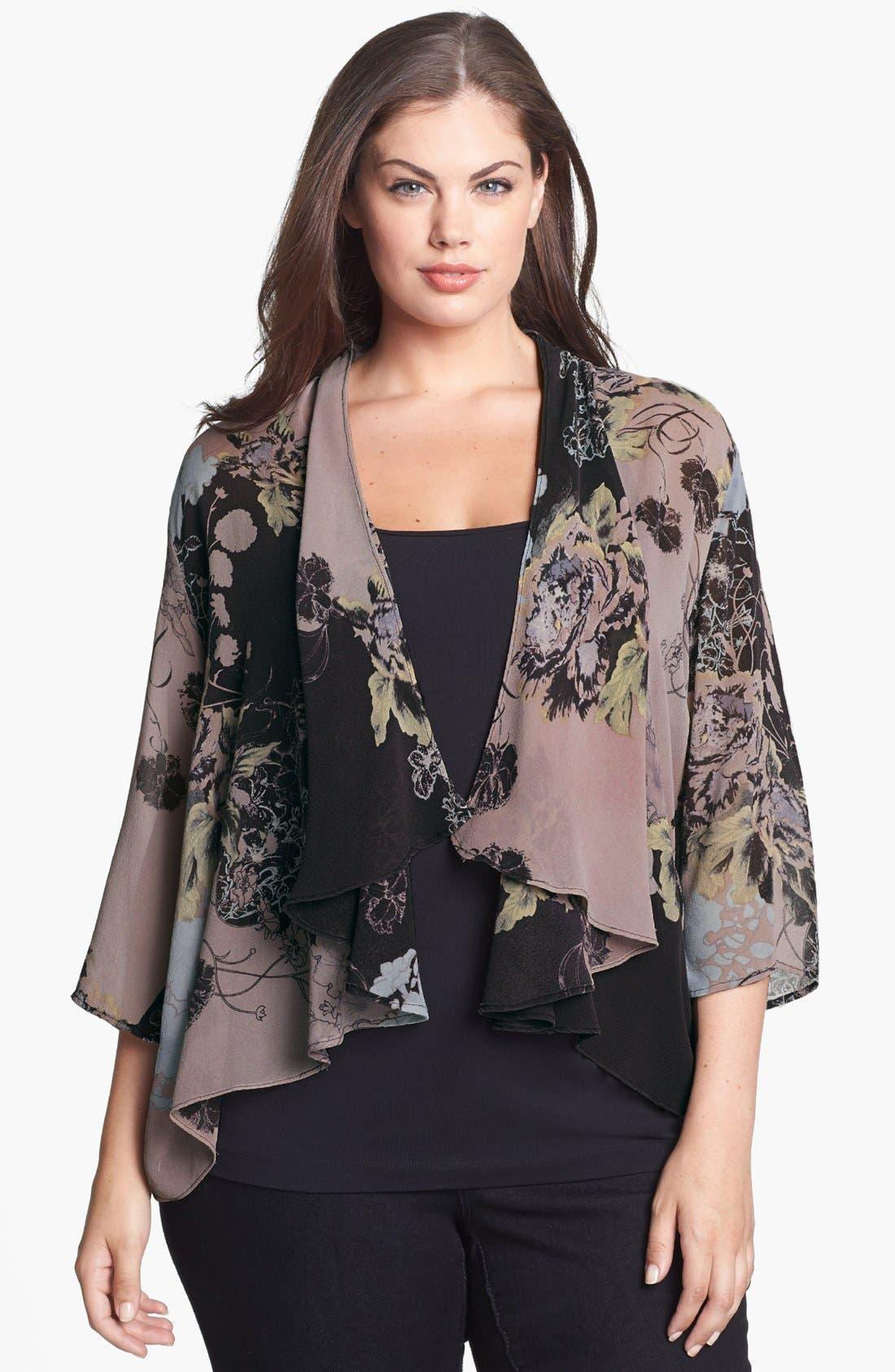 Main Image - Citron Print Silk Draped Jacket (Plus Size)