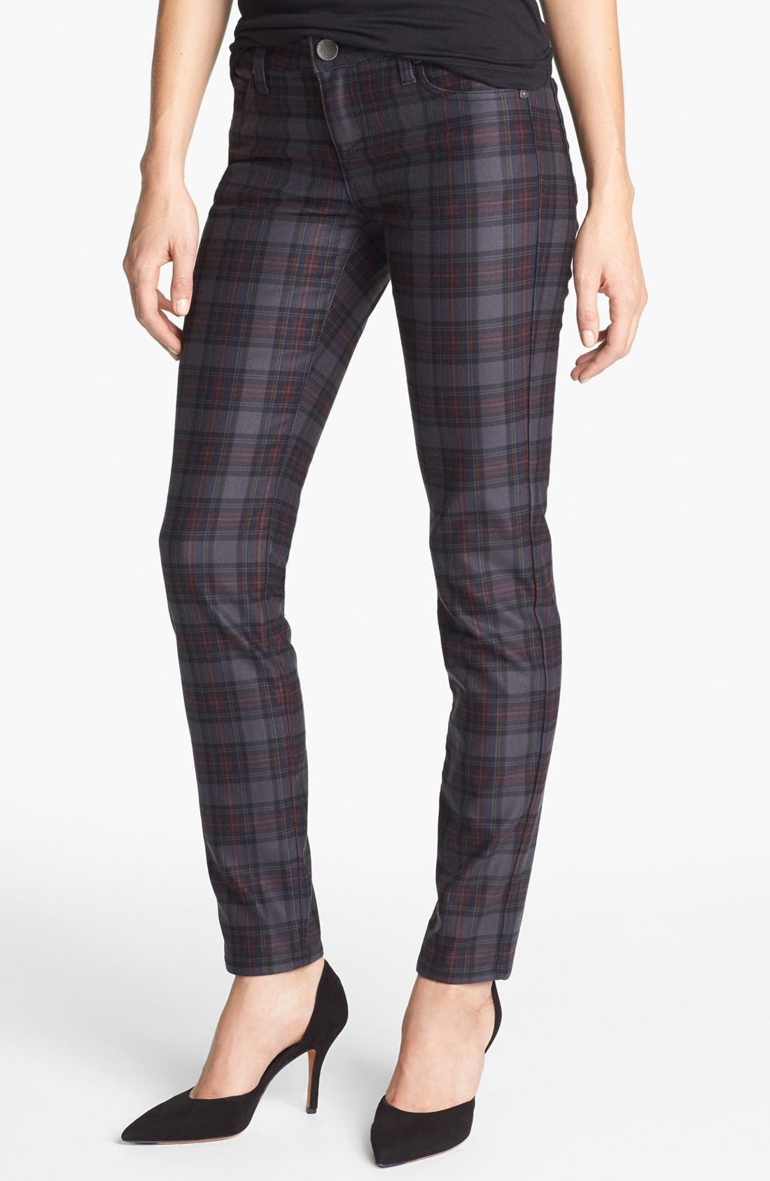 Main Image - KUT from the Kloth 'Mia' Plaid Toothpick Skinny Jeans (Grey)