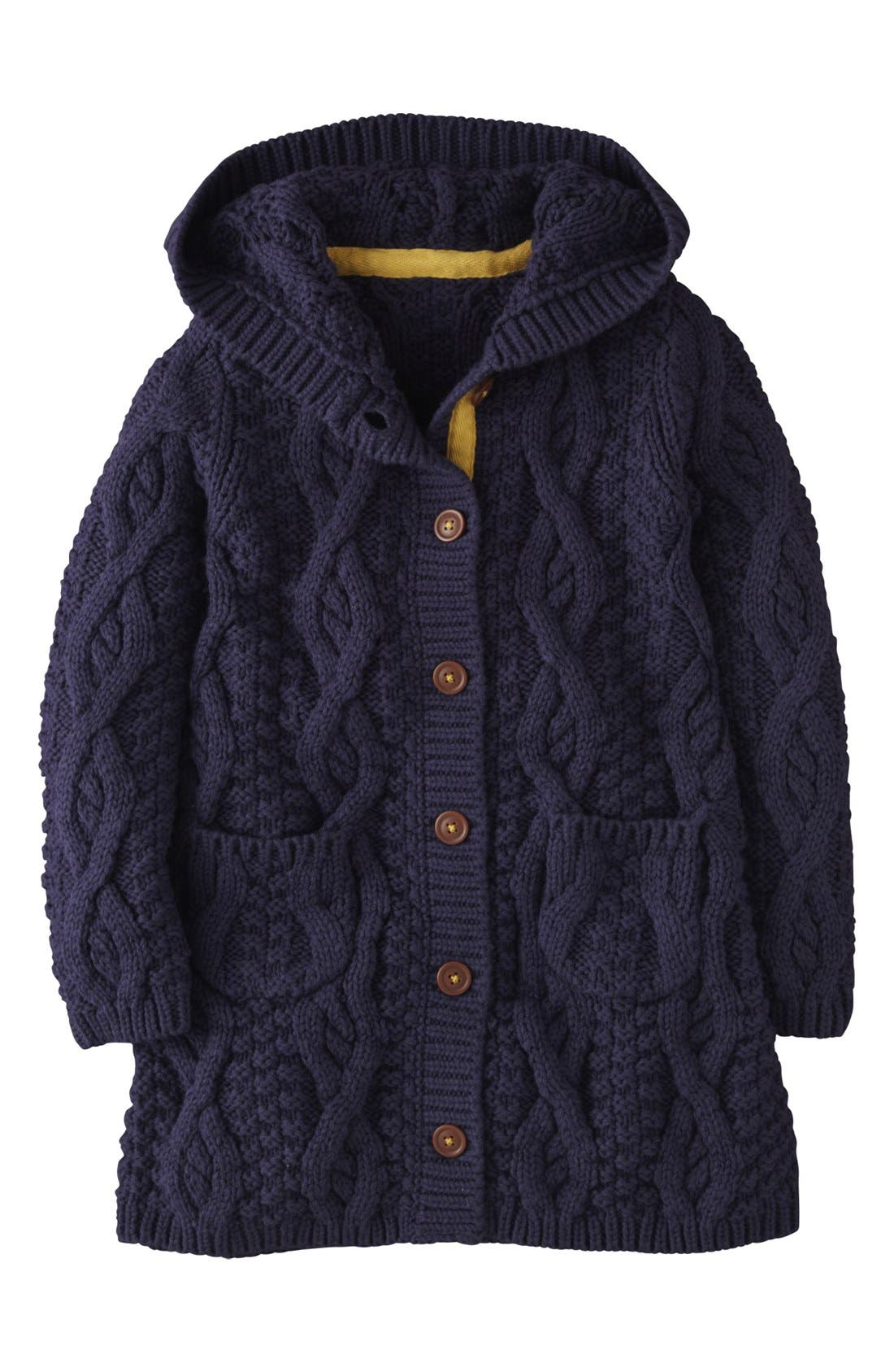 Alternate Image 1 Selected - Mini Boden Hooded Cardigan (Toddler Girls, Little Girls & Big Girls)