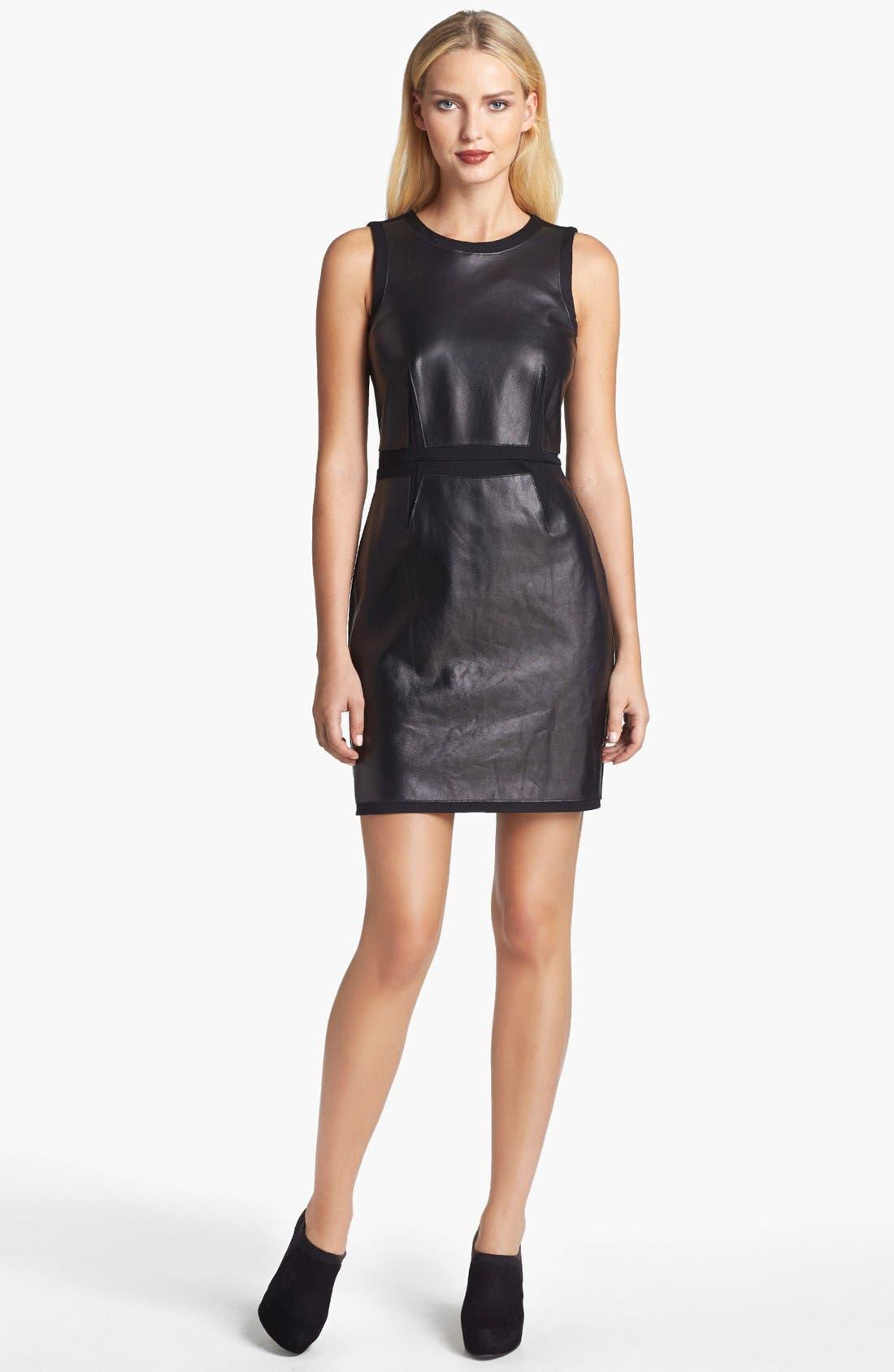 Main Image - ALICE & TRIXIE 'Tory' Leather & Ponte Knit Dress