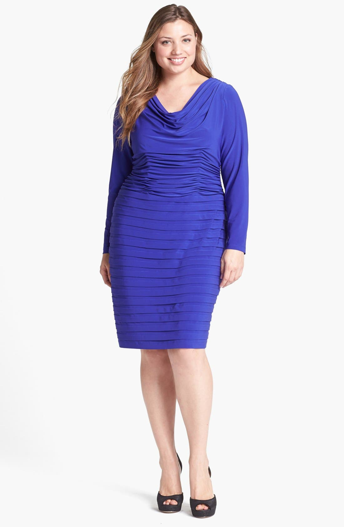 Main Image - Adrianna Papell Shutter Pleat Jersey Dress (Plus Size)