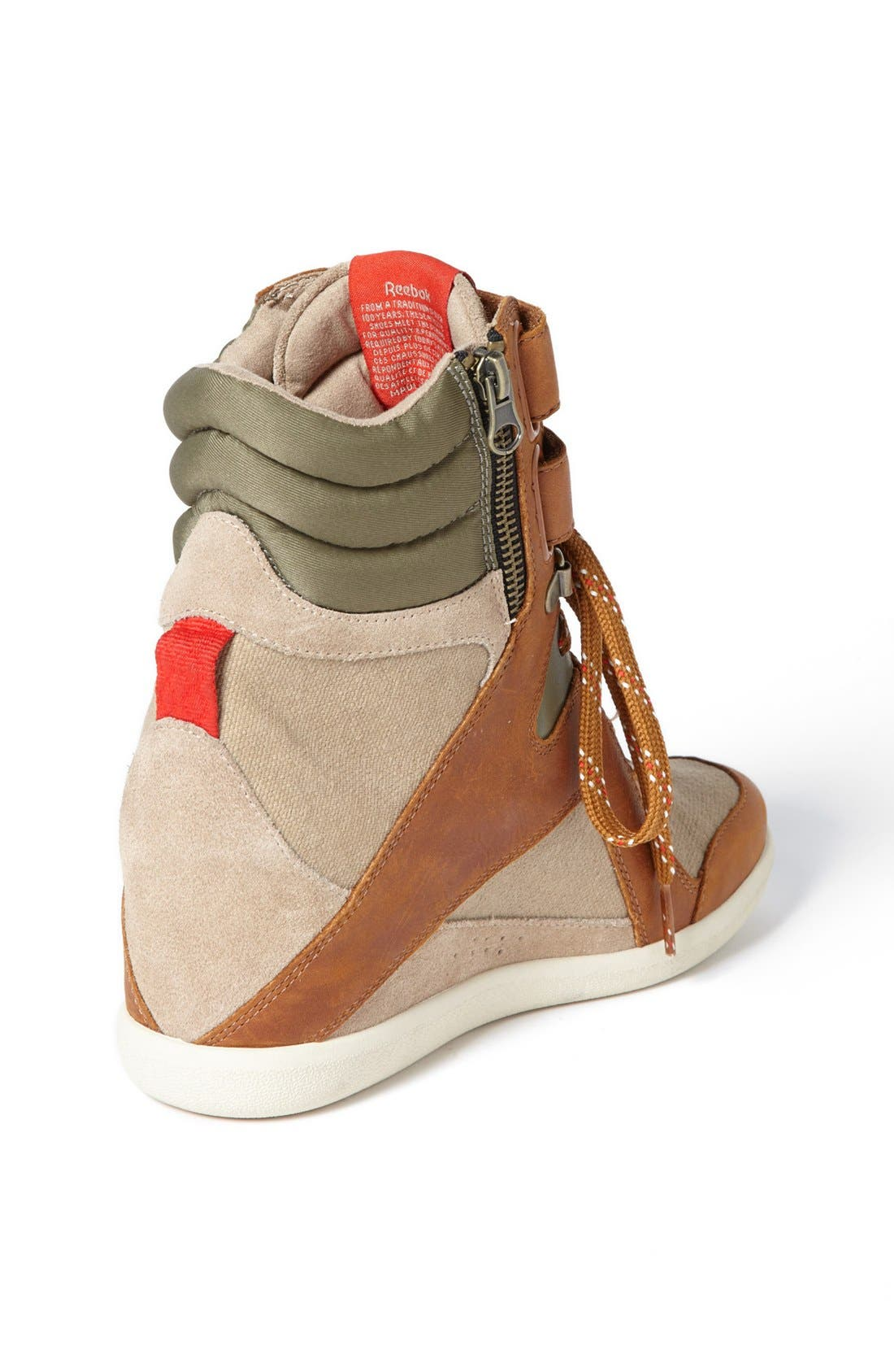 'Wedge A. Keys' Sneaker,                             Alternate thumbnail 2, color,                             Canvas/ Brown/ Green/ Red