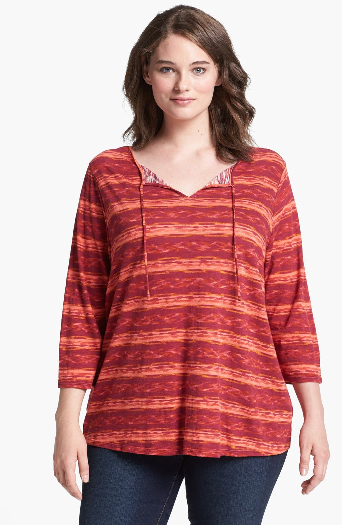Alternate Image 1 Selected - Lucky Brand 'Amber' Stripe Top (Plus Size)