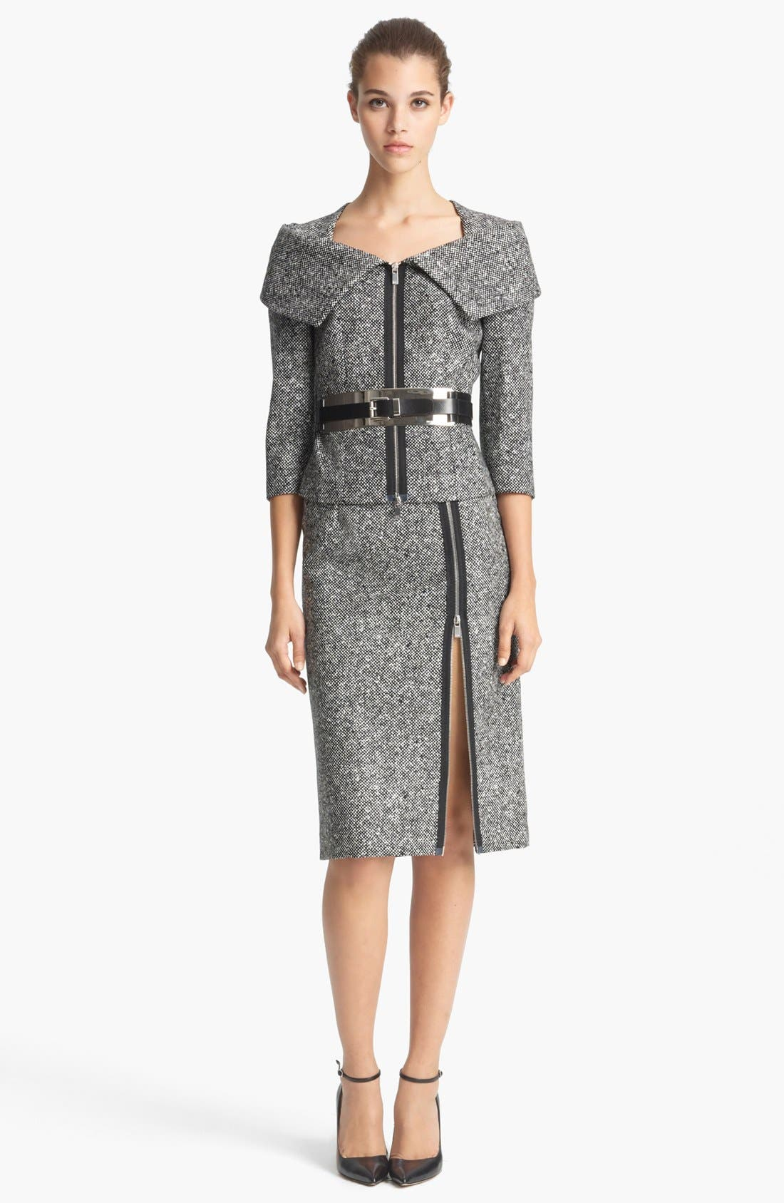 Alternate Image 2  - Michael Kors Origami Collar Tweed Jacket