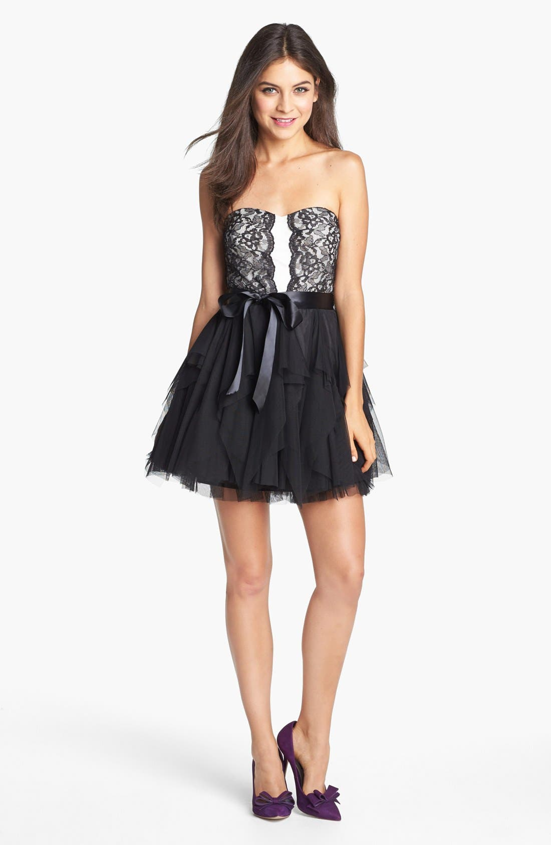 Main Image - Secret Charm Lace Fit & Flare Dress (Juniors) (Online Only)