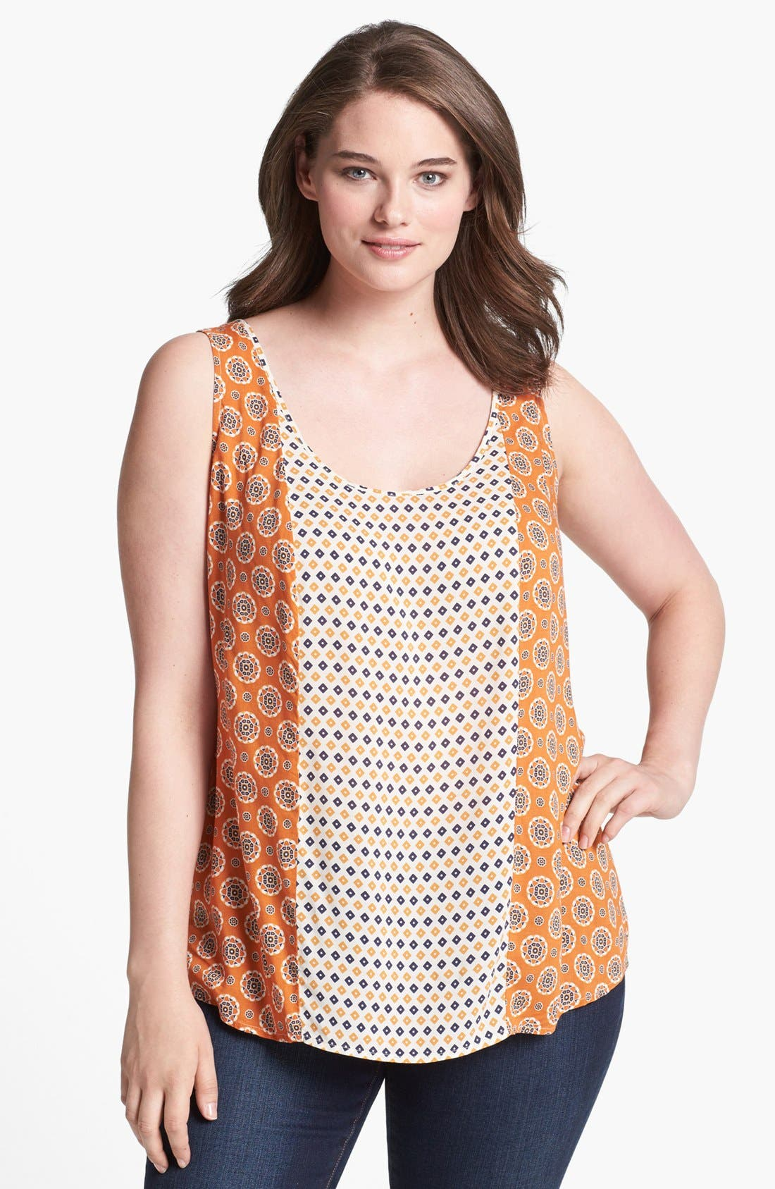 Alternate Image 1 Selected - Lucky Brand 'Caelyn' Mixed Print Tank (Plus Size)