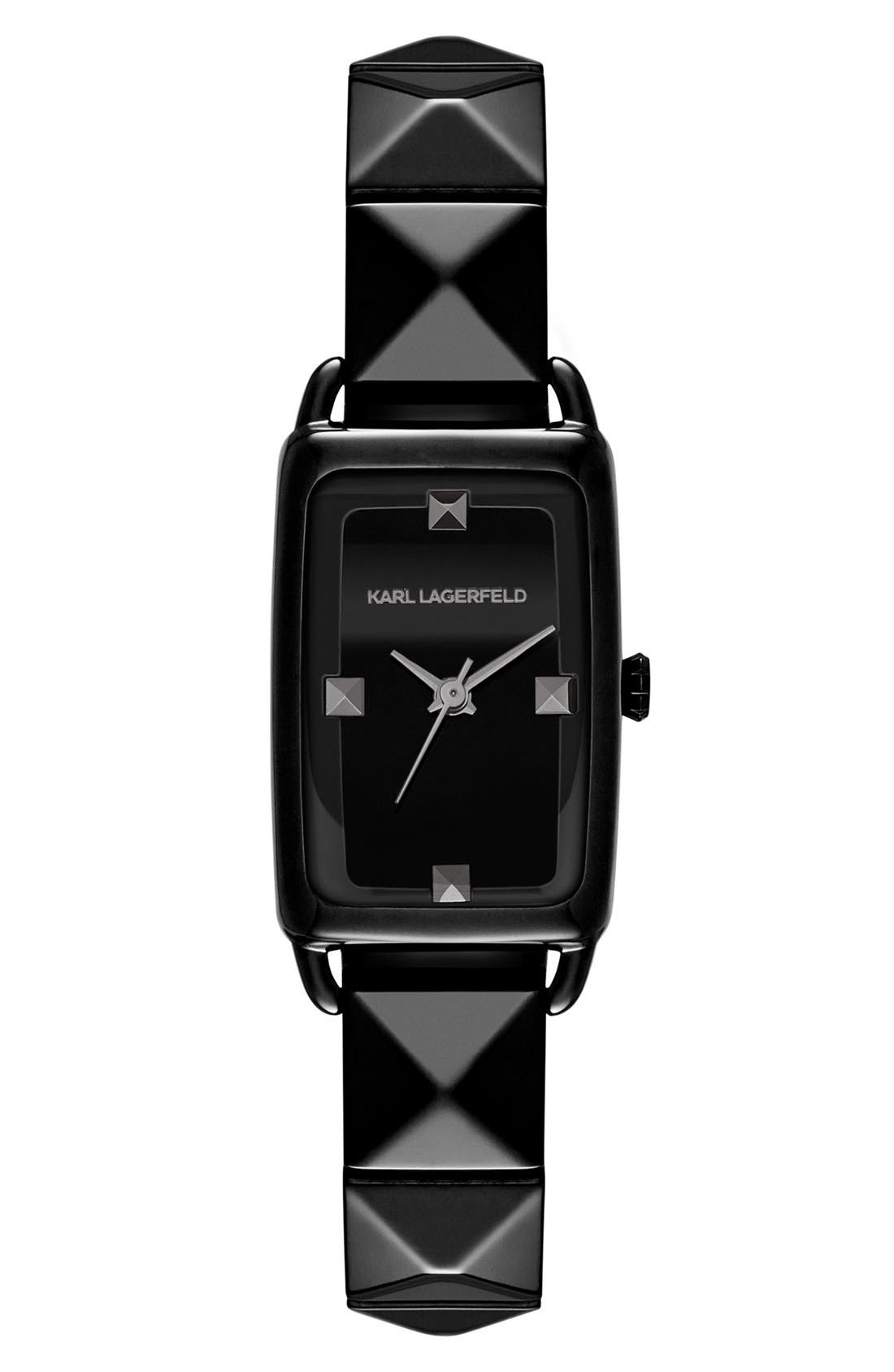 Alternate Image 1 Selected - KARL LAGERFELD 'La Petit Kourbe' Pyramid Bracelet Watch, 20mm x 30mm