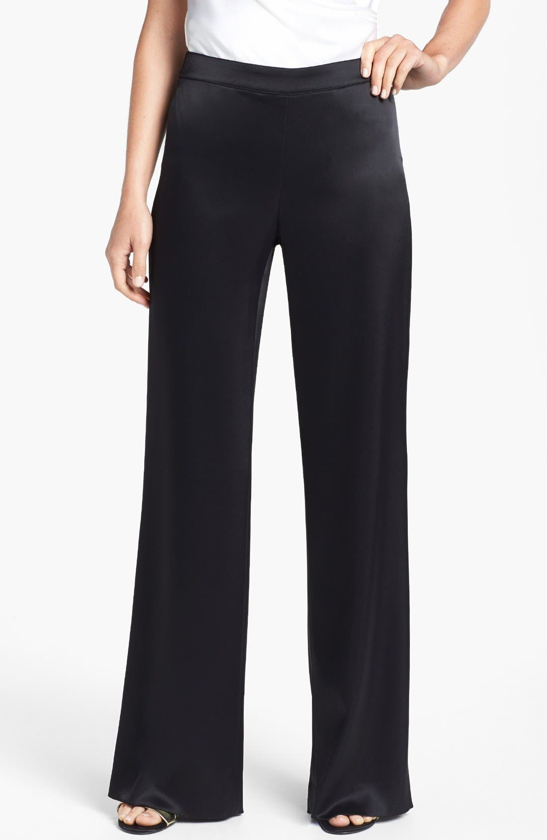 Alternate Image 1 Selected - St. John Collection 'Diana' Wide Leg Liquid Satin Pants