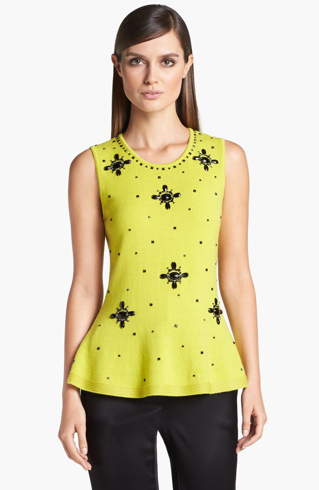 Alternate Image 1 Selected - St. John Collection Embellished Peplum Sweater