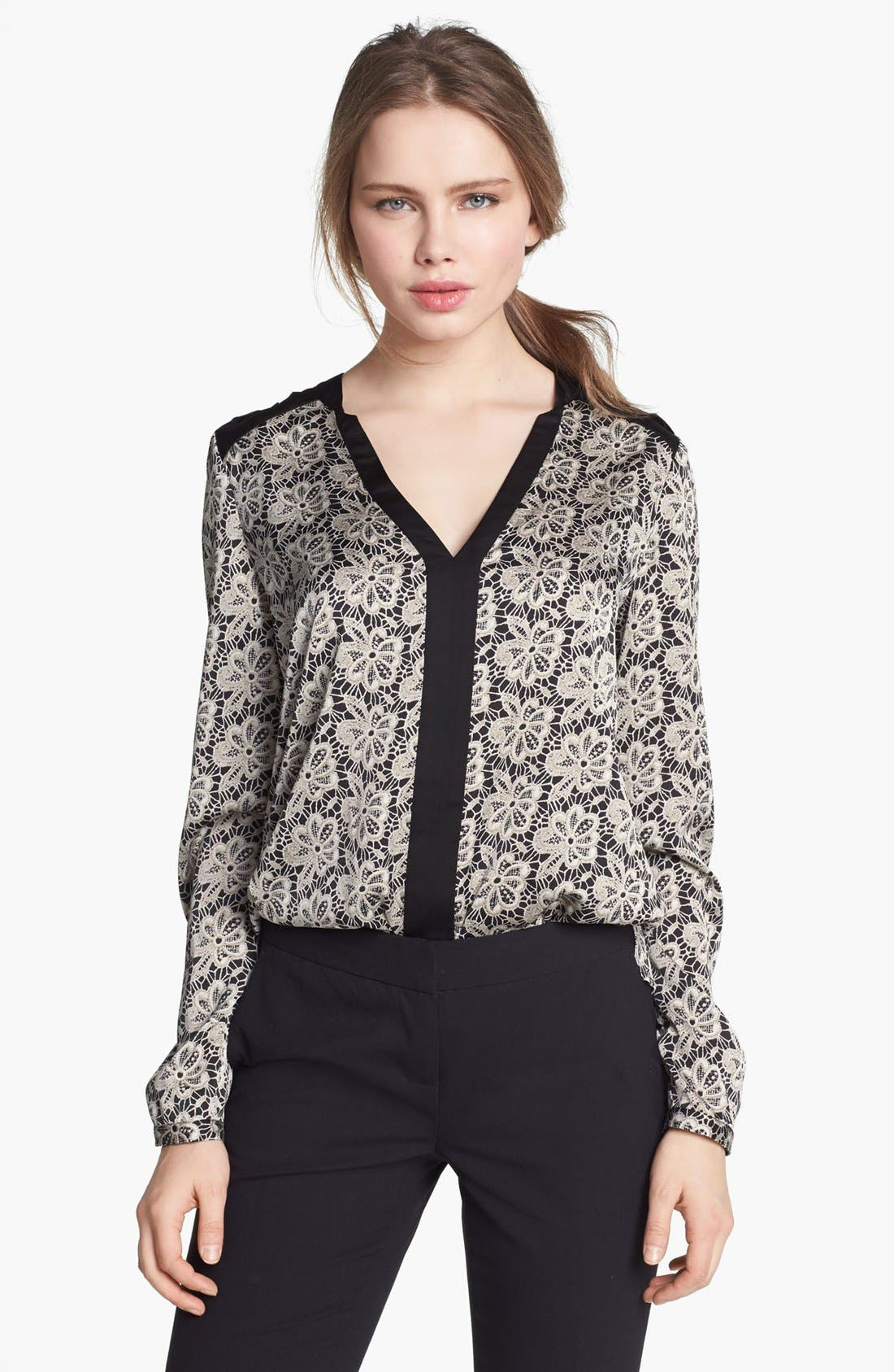 Alternate Image 1 Selected - Vince Camuto Split Neck Lace Print Blouse