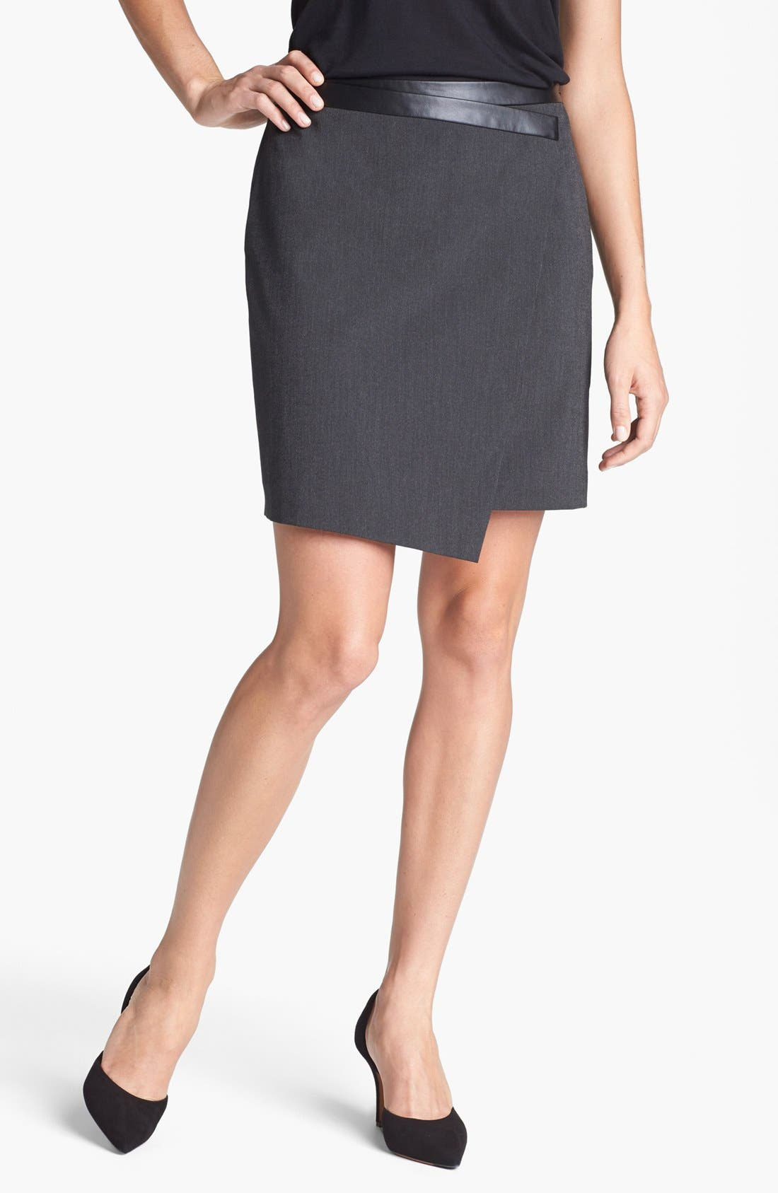 Main Image - Trouvé Asymmetrical Faux Wrap Skirt
