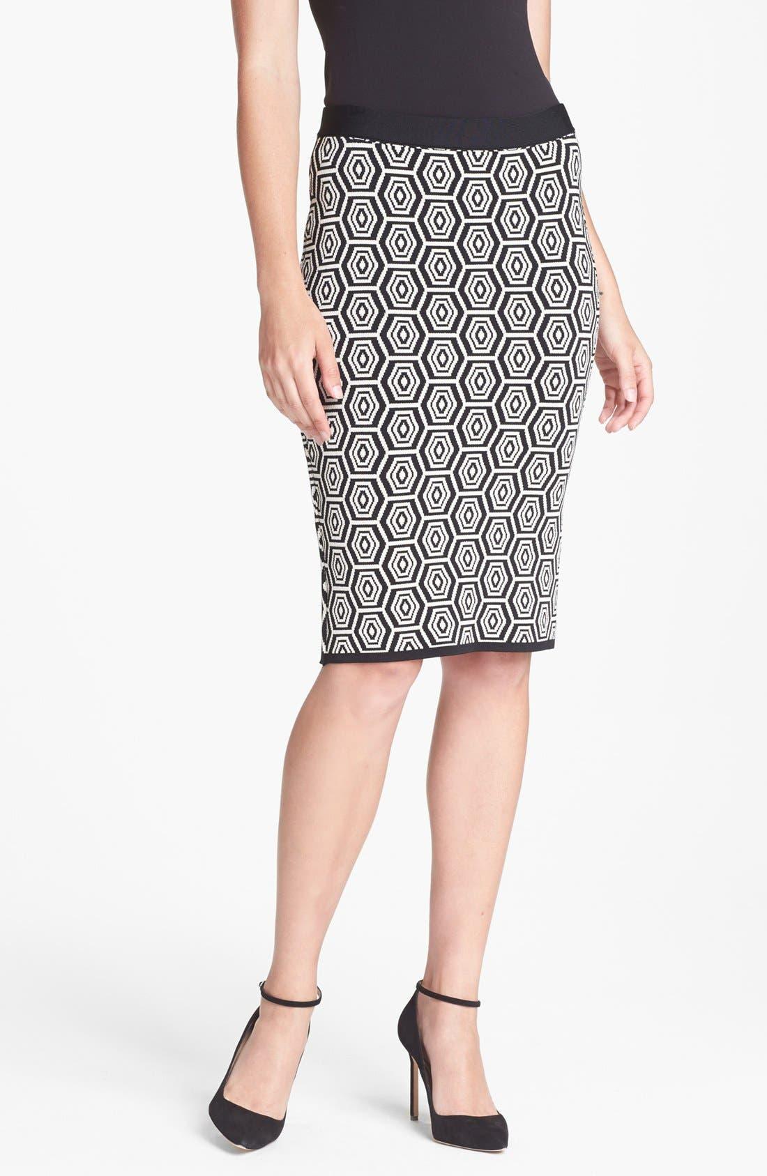 Main Image - Pink Tartan Knit Pencil Skirt