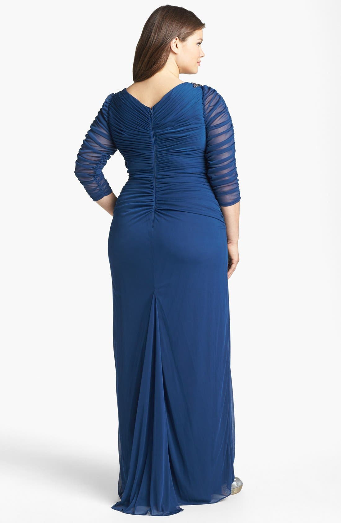 Alternate Image 2  - Adrianna Papell Brooch Embellished Ruched Mesh Gown (Plus Size)