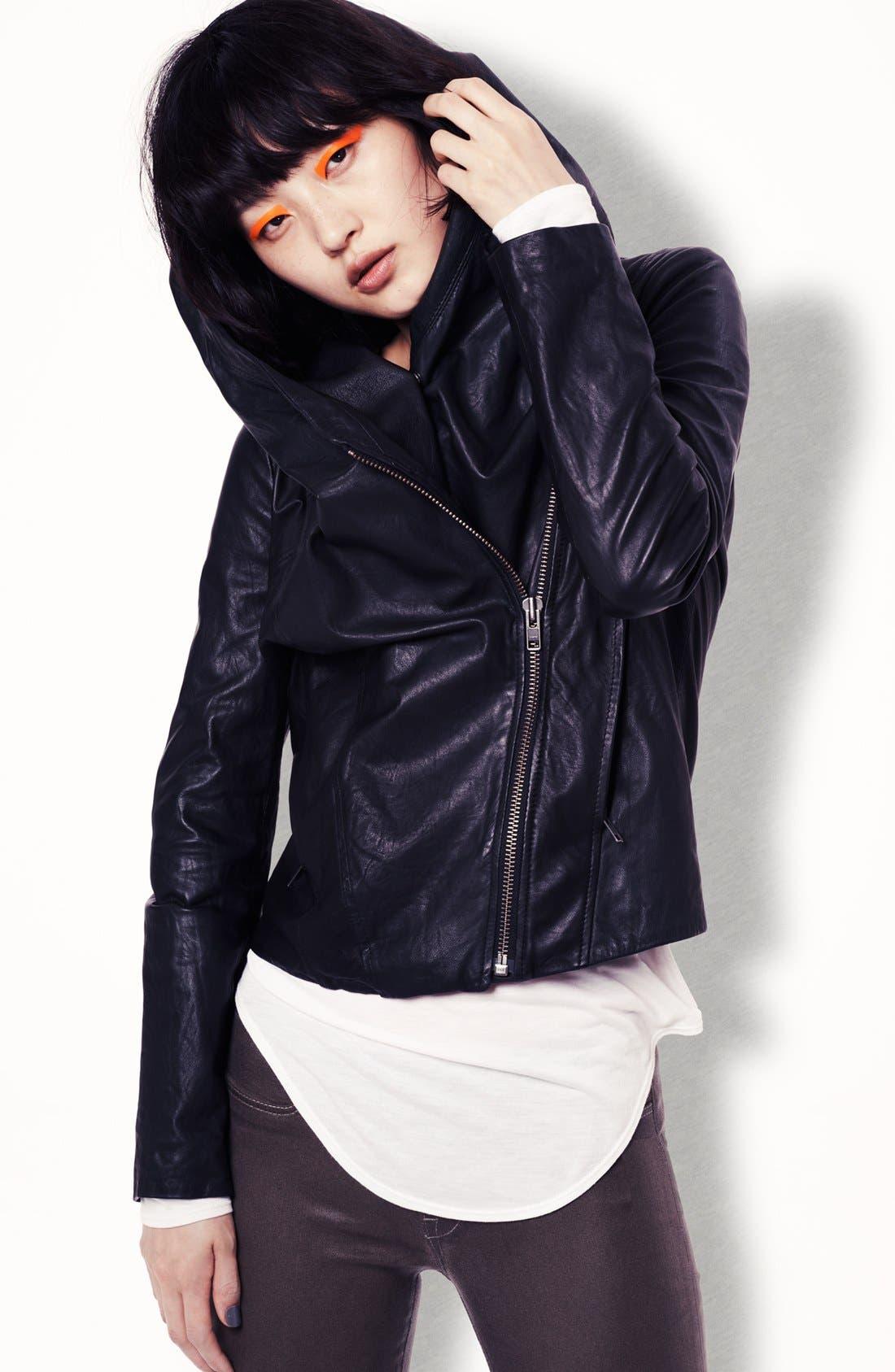 Alternate Image 6  - HELMUT Helmut Lang Hooded Washed Leather Jacket