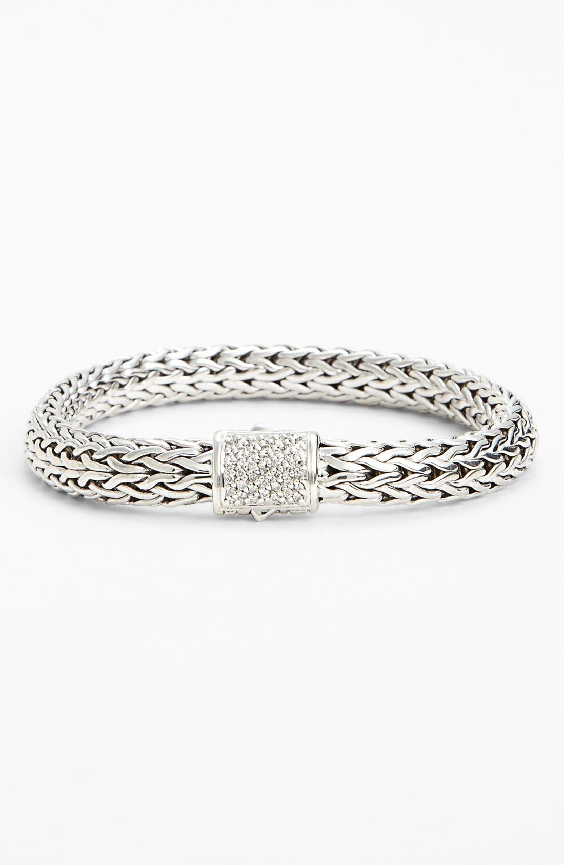 Alternate Image 1 Selected - John Hardy 'Classic Chain' Small Bracelet with Diamond Clasp