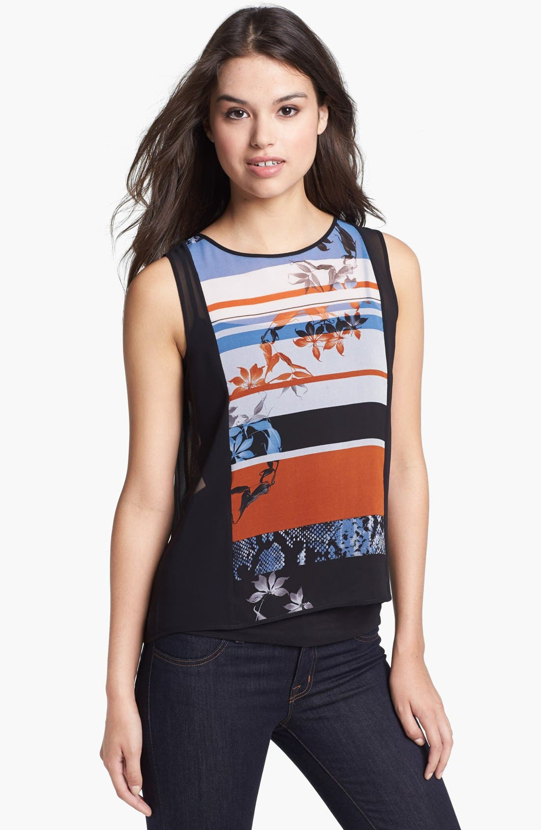 Alternate Image 1 Selected - Kenneth Cole New York 'Feodora' Mixed Print Chiffon Top (Regular & Petite)