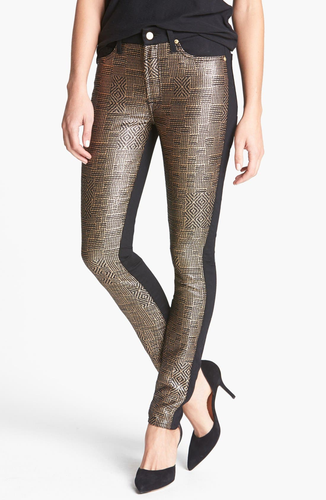 Main Image - 7 For All Mankind® 'Malhia Kent - The Pieced Skinny' Jacquard Jeans (Egyptian Gold Tweed)