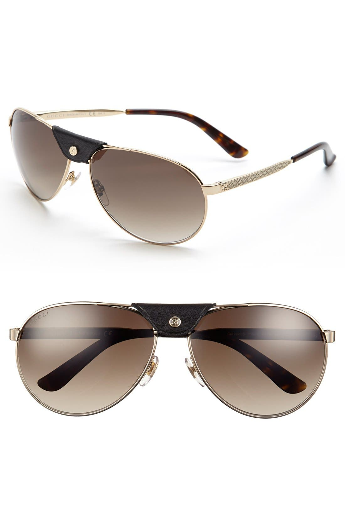 Main Image - Gucci 63mm Aviator Sunglasses