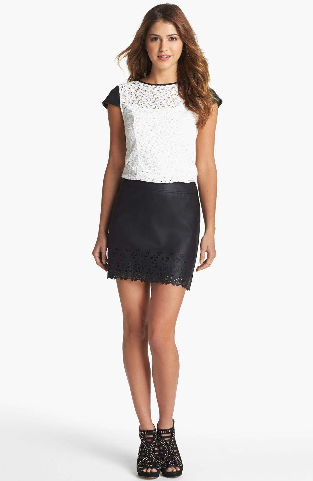 Main Image - kensie Lace & Faux Leather Top