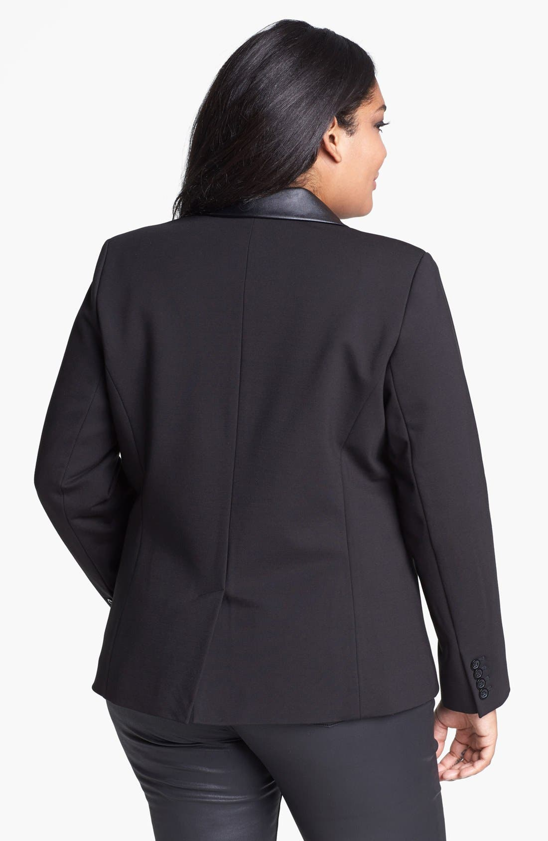 Alternate Image 2  - MICHAEL Michael Kors Faux Leather & Ponte Knit Blazer (Plus Size)