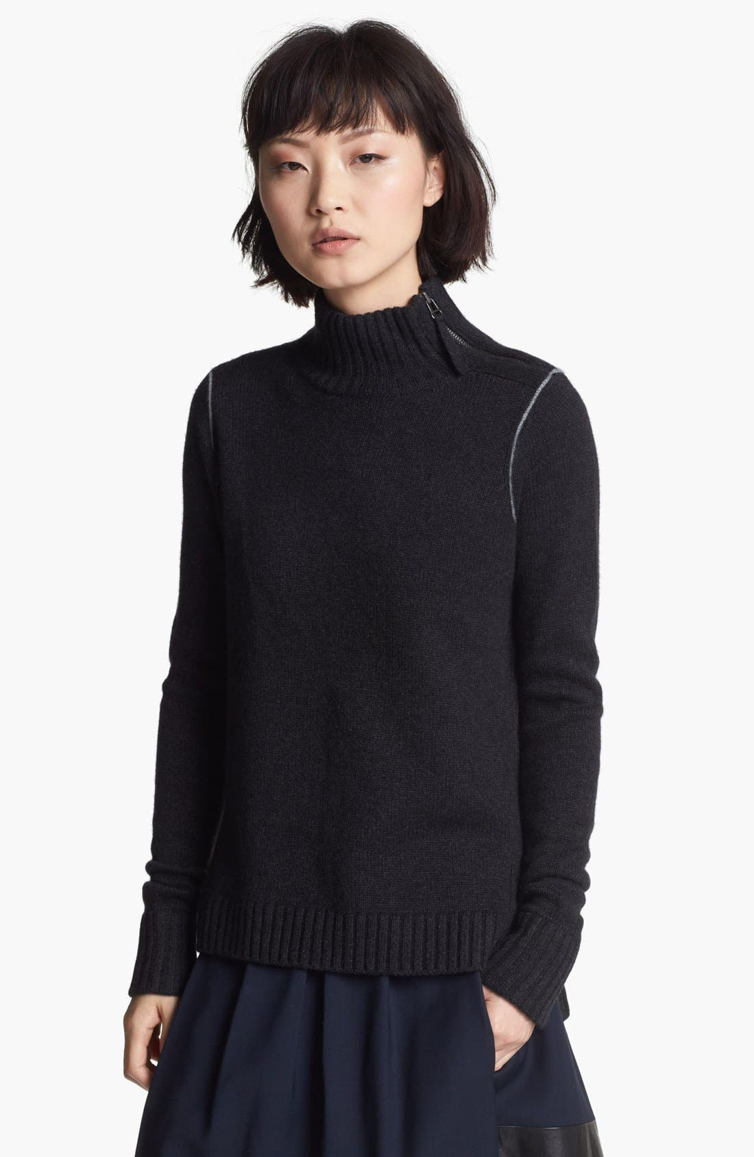 Alternate Image 1 Selected - Vince Chain Contrast Mock Neck Sweater