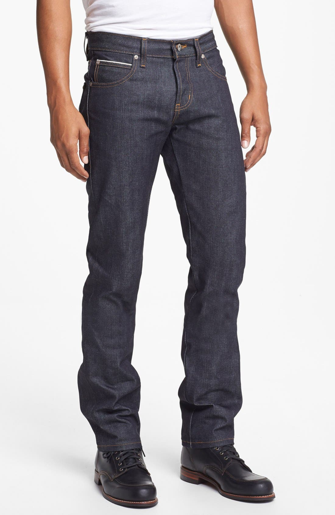 Alternate Image 1 Selected - Naked & Famous Denim Super Skinny Guy Skinny Fit Raw Selvedge Jeans (Left Hand Twill Selvedge)