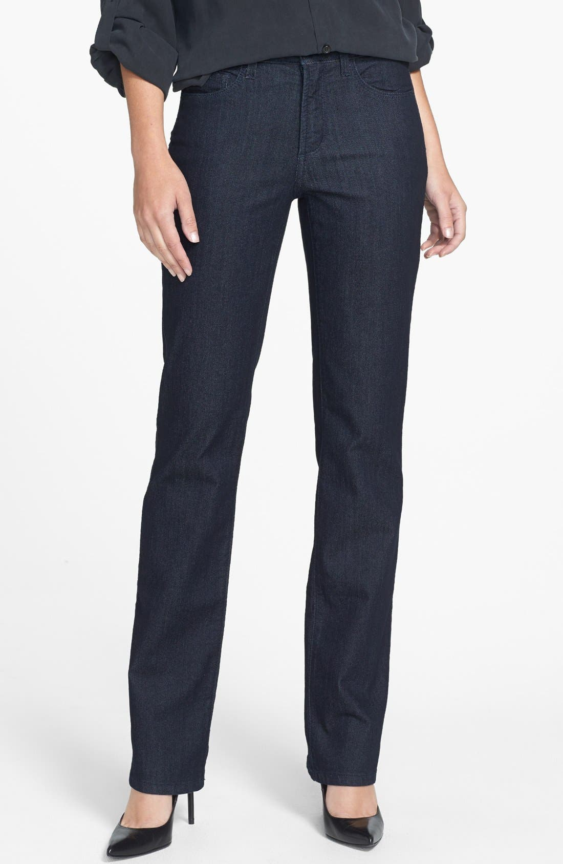 Alternate Image 1 Selected - NYDJ 'Marilyn' Embellished Pocket Stretch Straight Leg Jeans