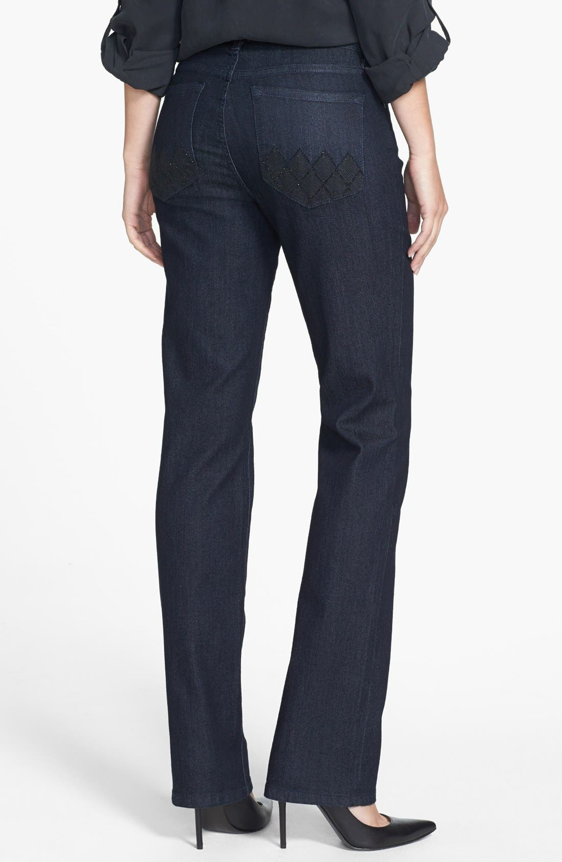 Alternate Image 3  - NYDJ 'Marilyn' Embellished Pocket Stretch Straight Leg Jeans