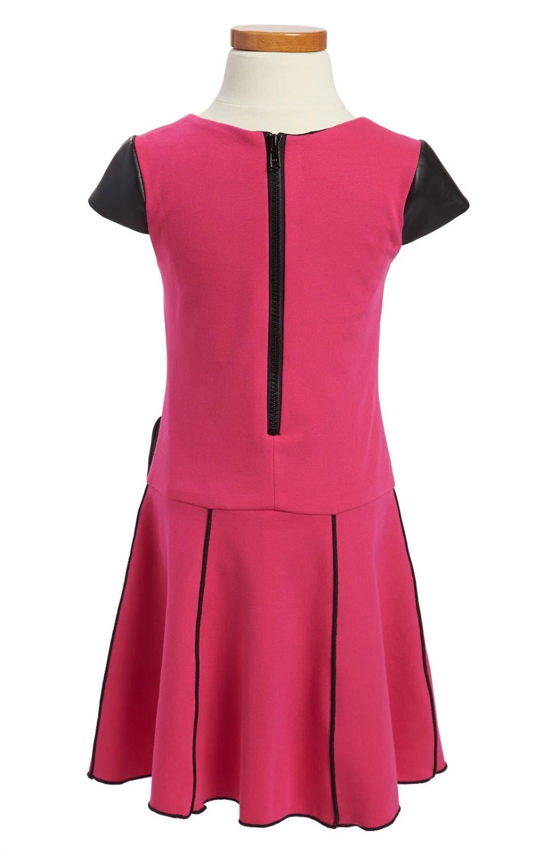 Alternate Image 2  - Zoe Ltd Faux Leather Trim Dress (Little Girls & Big Girls)