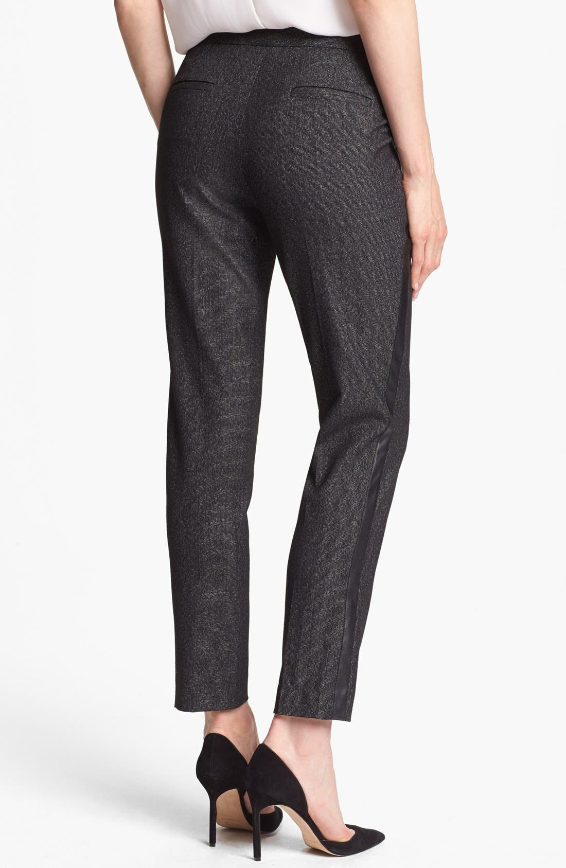 Alternate Image 2  - Vince Camuto Faux Leather Tuxedo Stripe Pants (Petite)