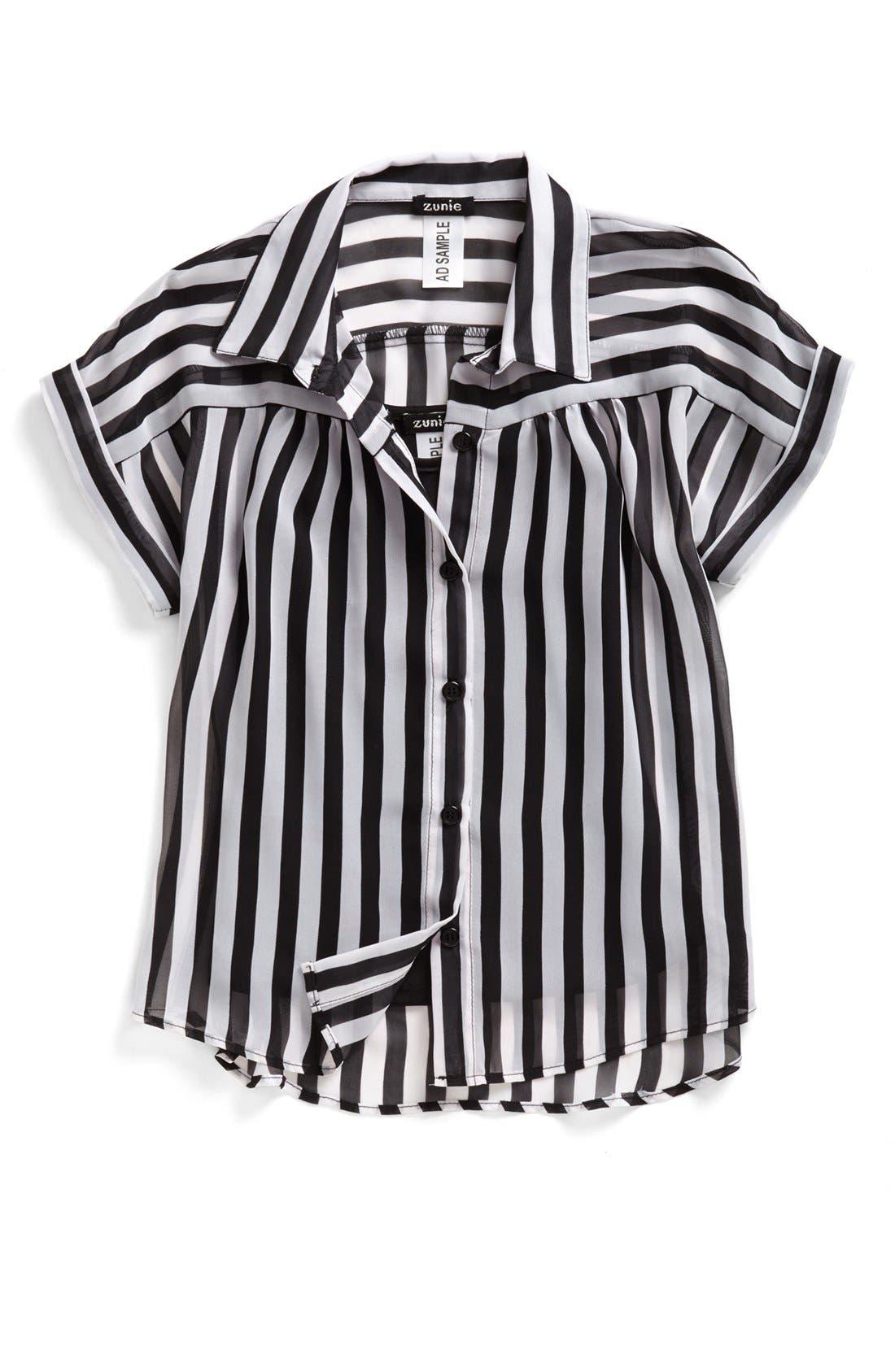 Alternate Image 1 Selected - Zunie Stripe Top (Big Girls)