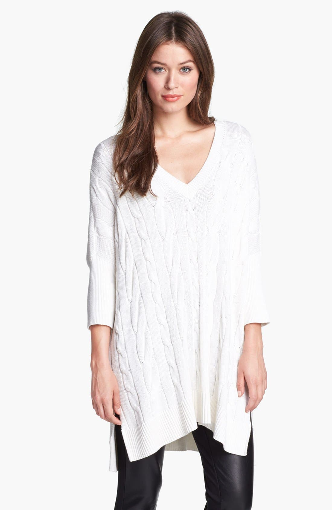 Alternate Image 1 Selected - MICHAEL Michael Kors V-Neck Cable Poncho Sweater