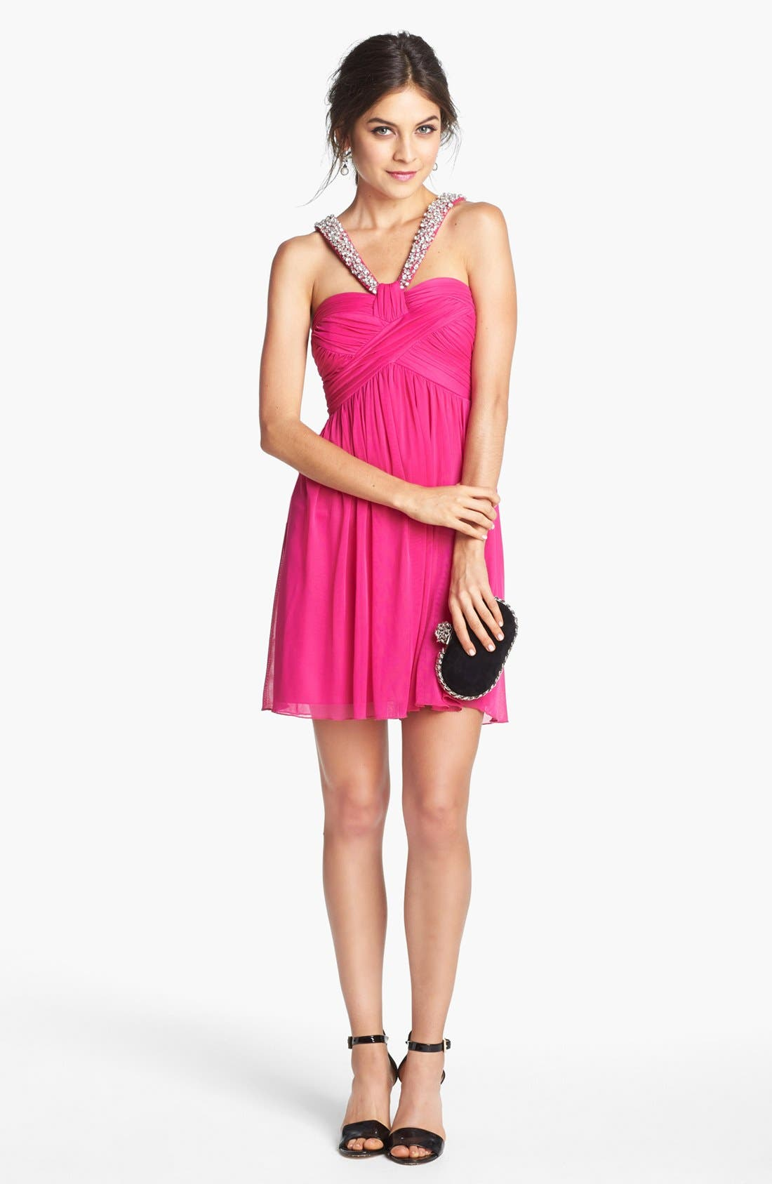 Main Image - Way-In Embellished Pleat Bodice Dress (Juniors)
