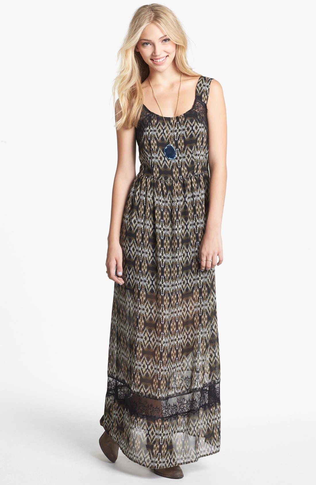 Main Image - Mimi Chica Lace Inset Print Maxi Dress (Juniors)