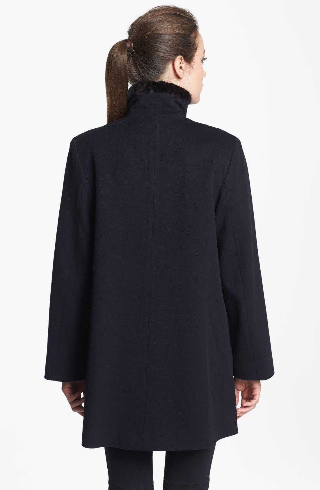 Alternate Image 2  - Fleurette Genuine Mink Fur Trim Loro Piana Wool Coat (Petite)