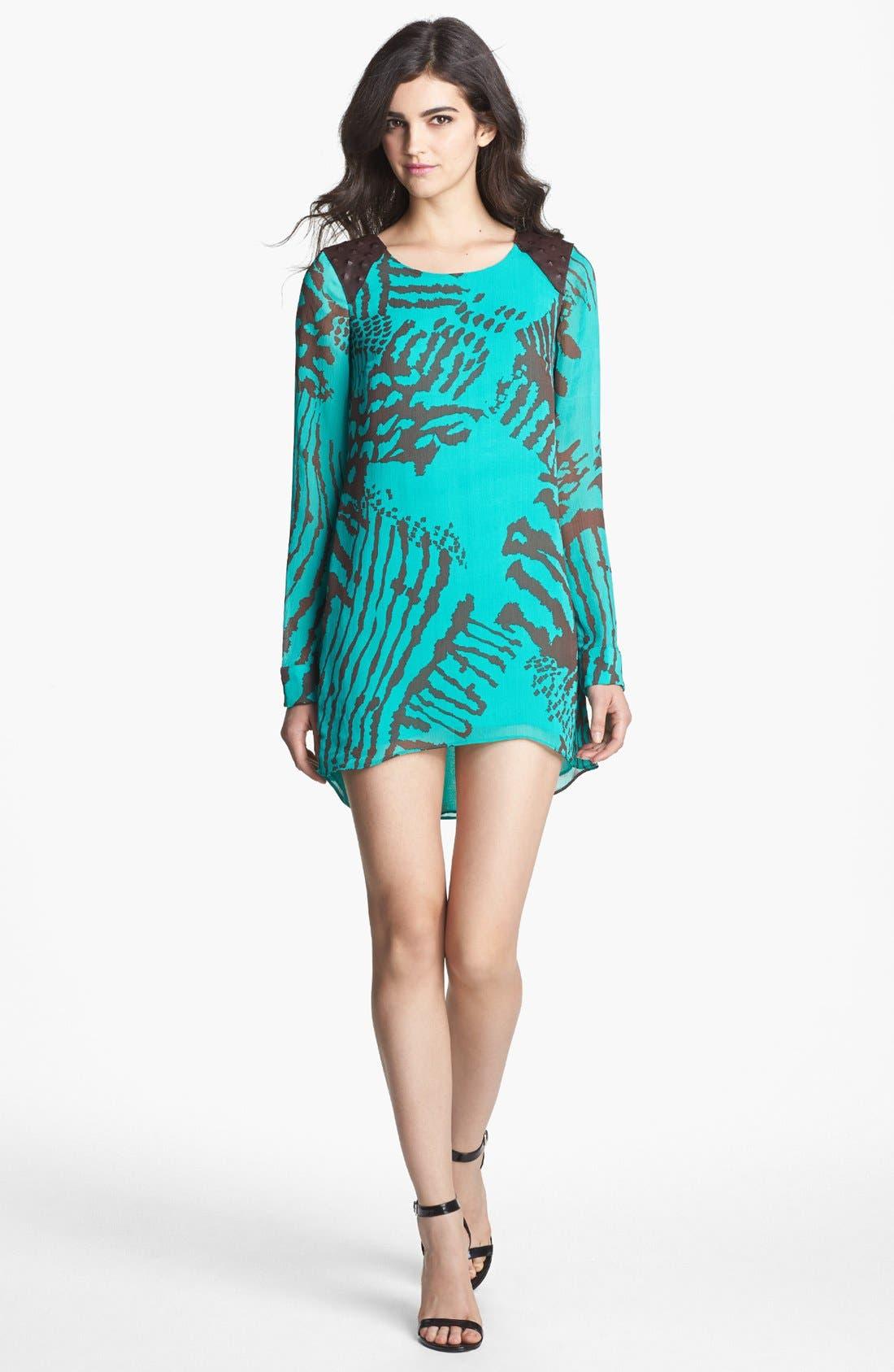 Alternate Image 3  - Dress the Population 'Summer' Leather Yoke High/Low Shift Dress