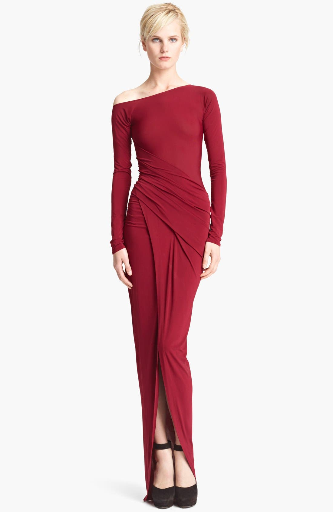 Main Image - Donna Karan Collection Long Sleeve Draped Gown