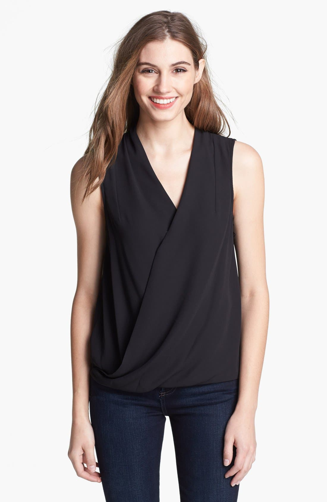 Alternate Image 1 Selected - Vince Camuto Sleeveless Faux Wrap Top