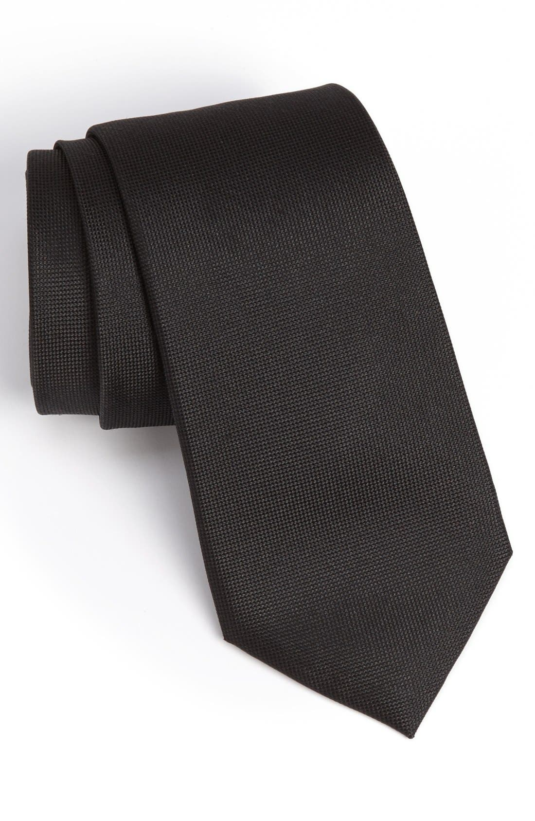 Woven Silk Tie,                             Main thumbnail 1, color,                             Black