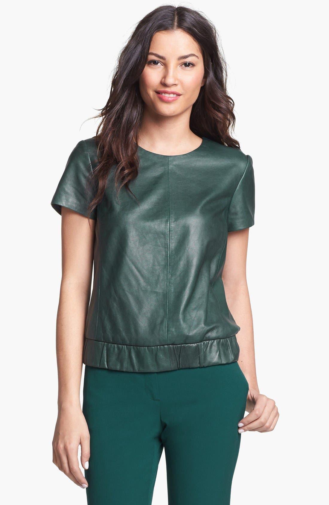 Main Image - Halogen® Leather Front Elastic Waist Top