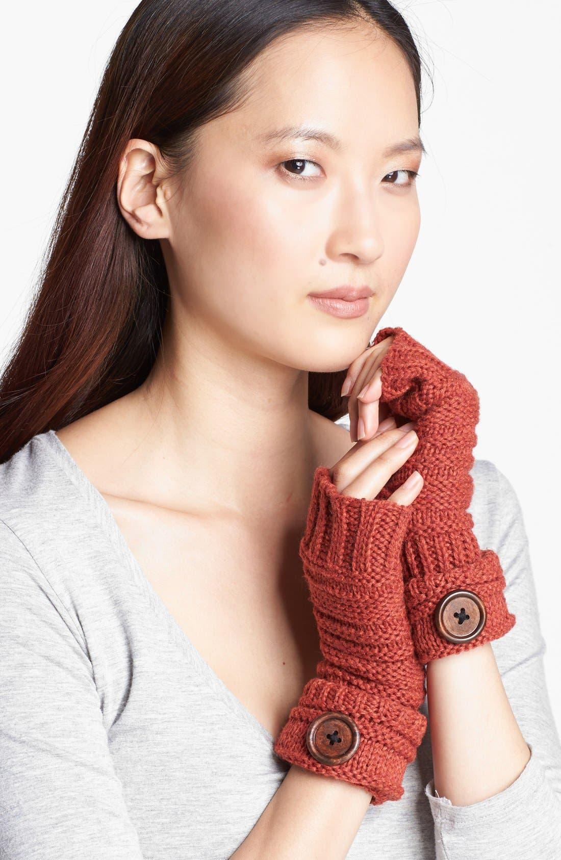 Main Image - Evelyn K Button Detail Fingerless Gloves