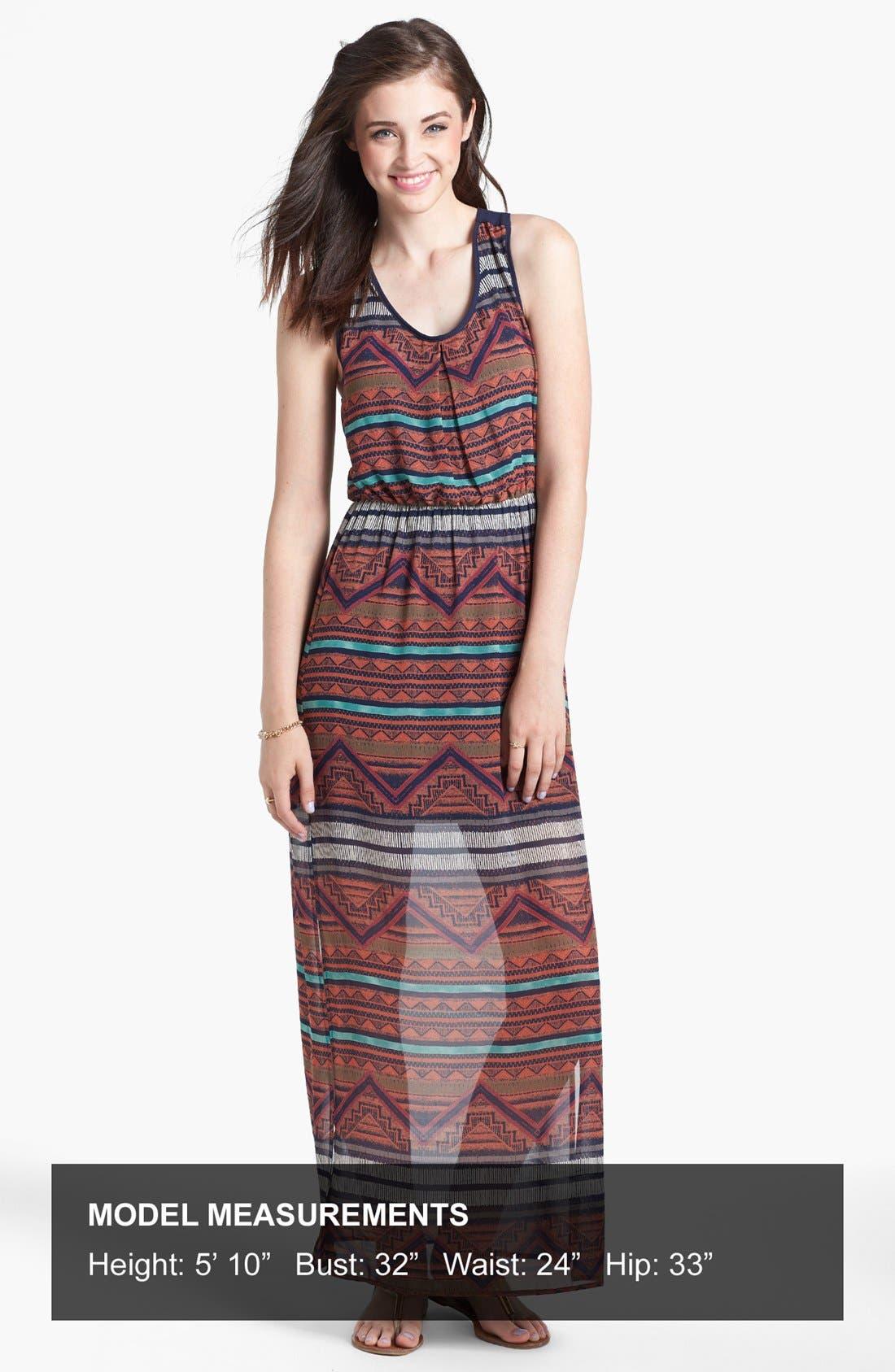 Alternate Image 4  - dee elle Cutout Print Racerback Maxi Dress (Juniors)