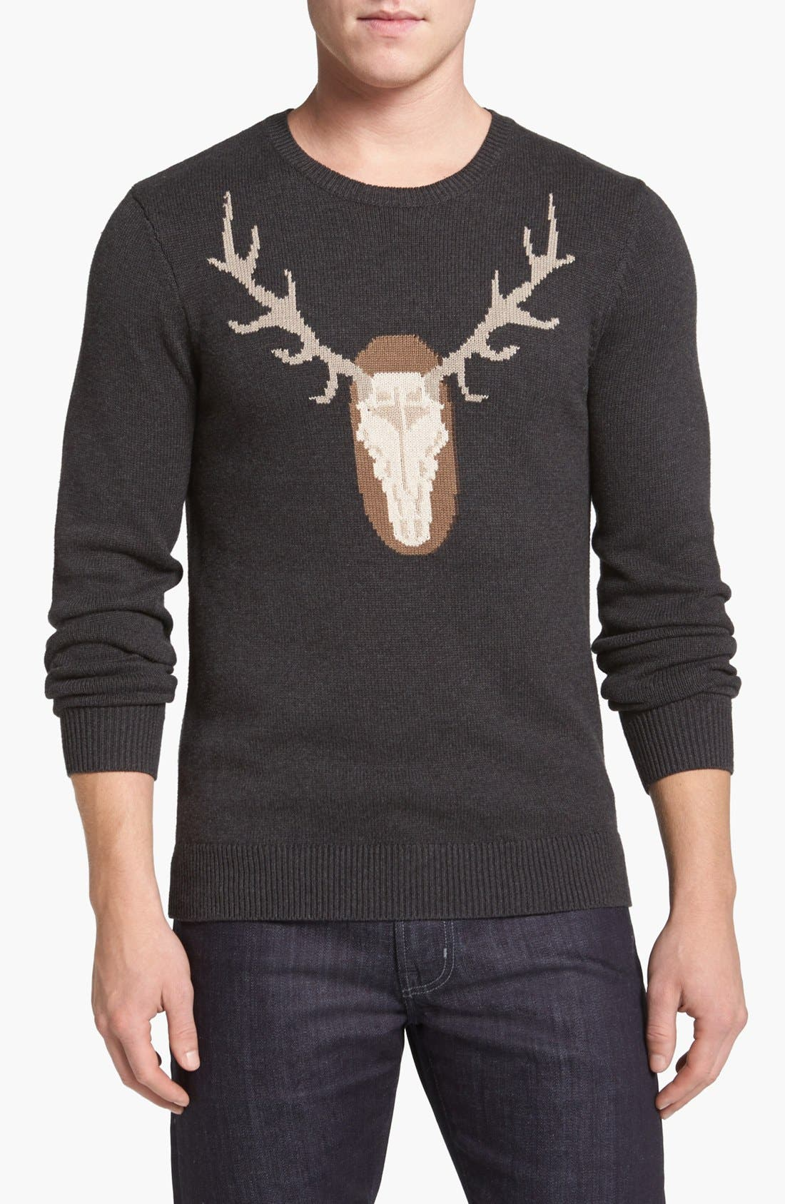 Graphic Crewneck Sweater,                         Main,                         color, Charcoal Heather