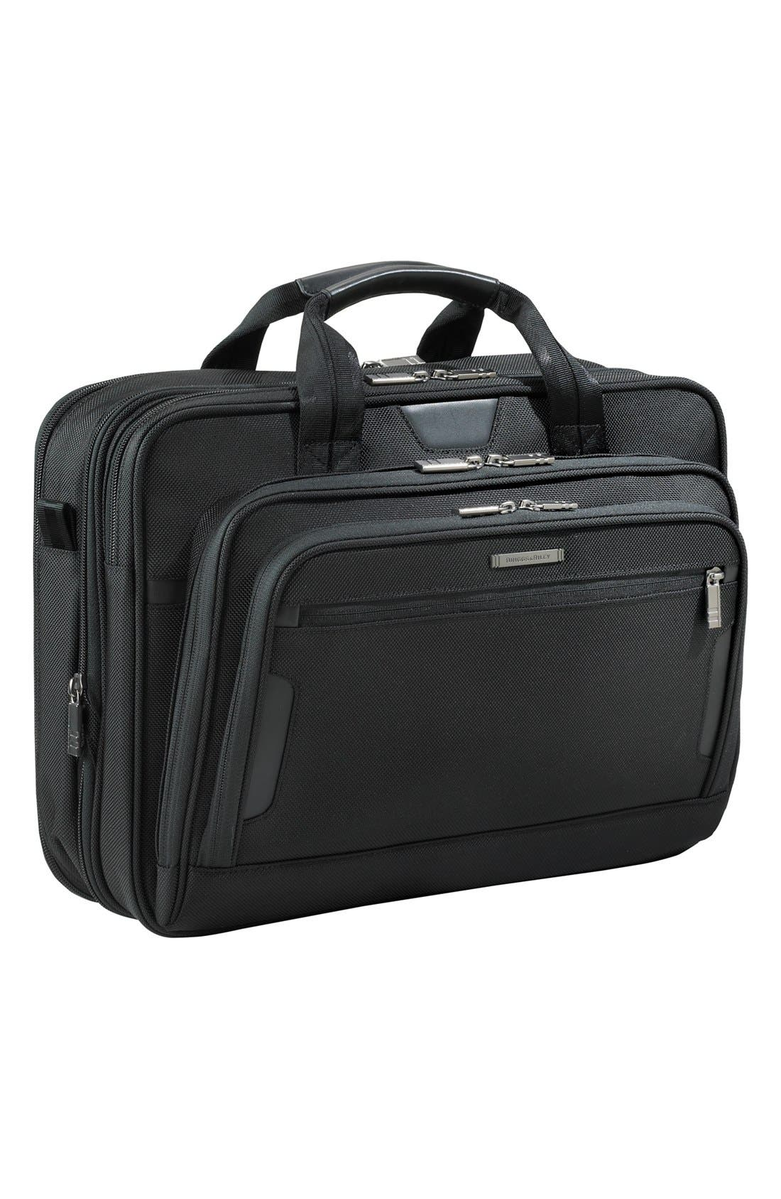 'Medium' Expandable Ballistic Nylon Briefcase,                             Main thumbnail 1, color,                             Black