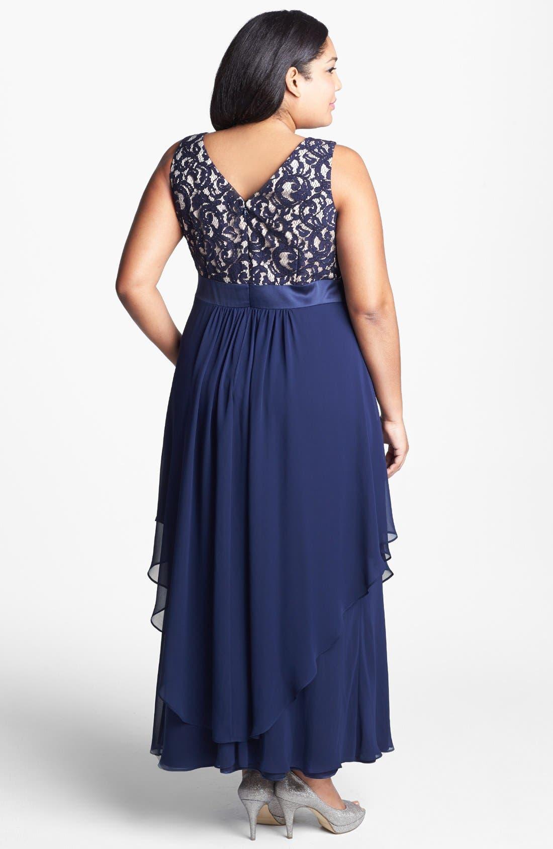 Alternate Image 2  - Eliza J Lace & Chiffon Gown (Plus Size)