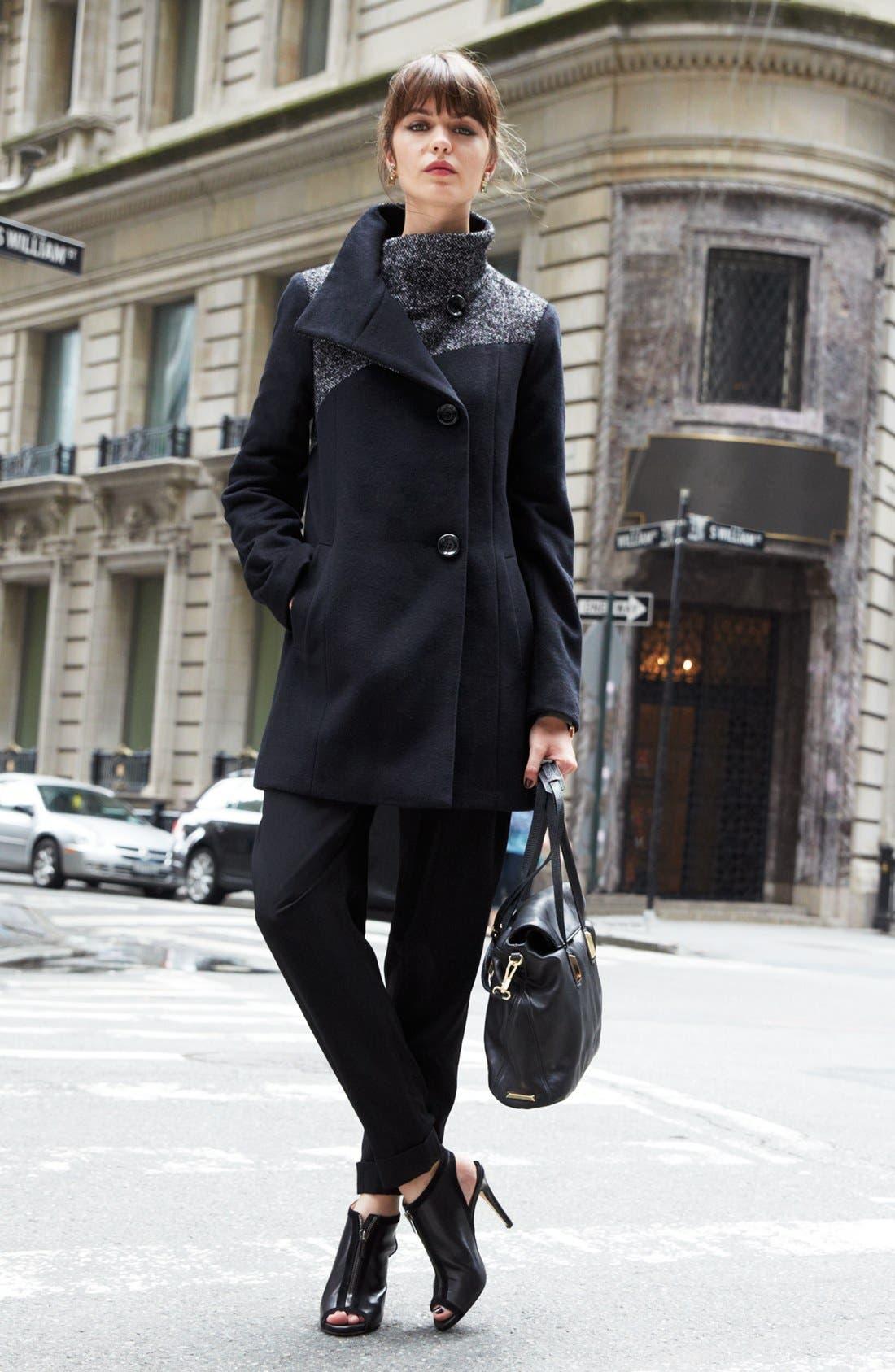 Alternate Image 2  - Ellen Tracy Contrast Yoke Wool Blend Coat