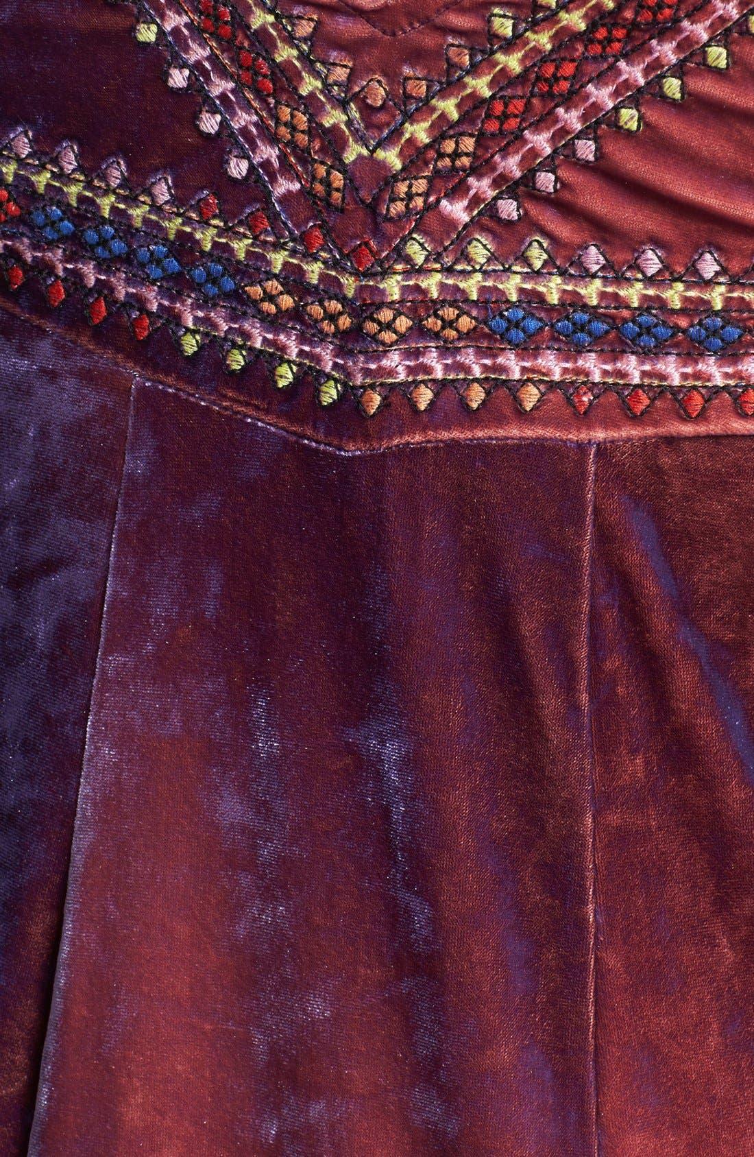 Alternate Image 3  - Free People 'Sunset' Embroidered Crushed Velvet Maxi Dress