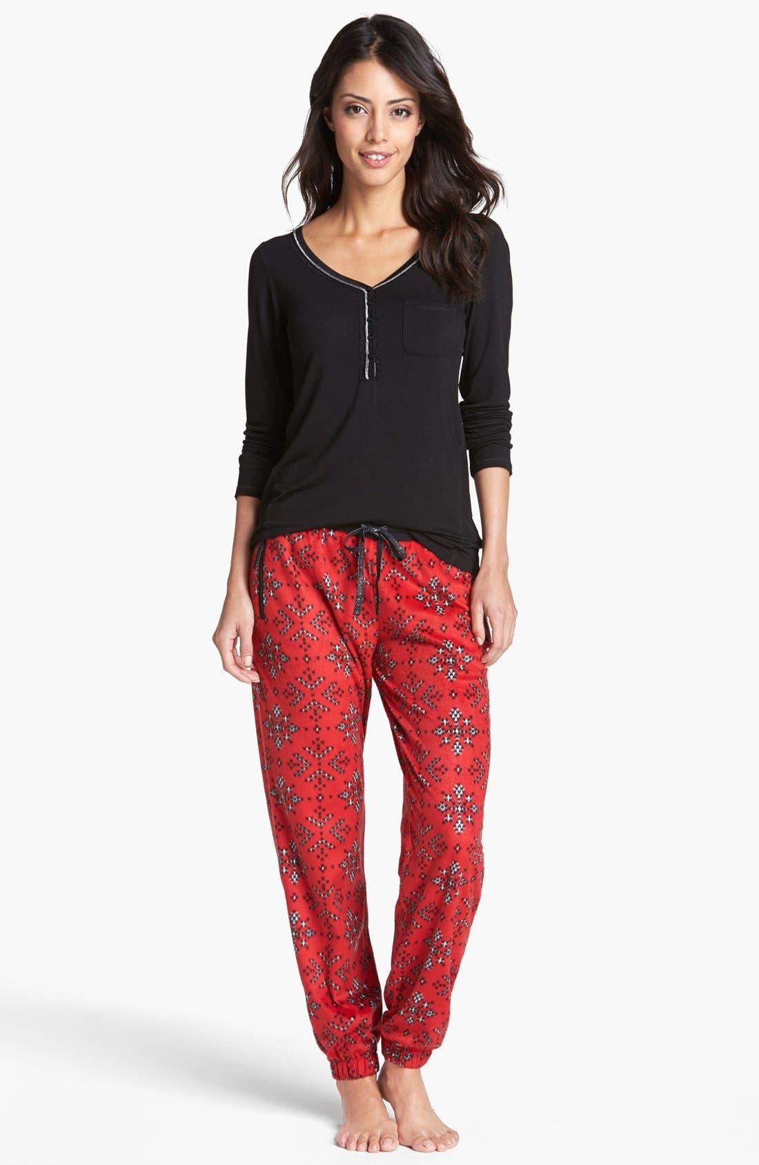Alternate Image 3  - kensie 'Chilled Out' Fleece Ski Pajama Pants